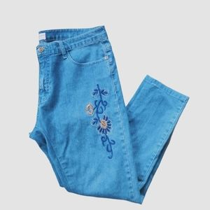Show off Stretch Blue Denim Jeans, Embroidery, 14